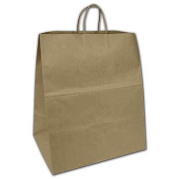 "Recycled Kraft Shoppers, 16 x 11 x 18 1/4"""