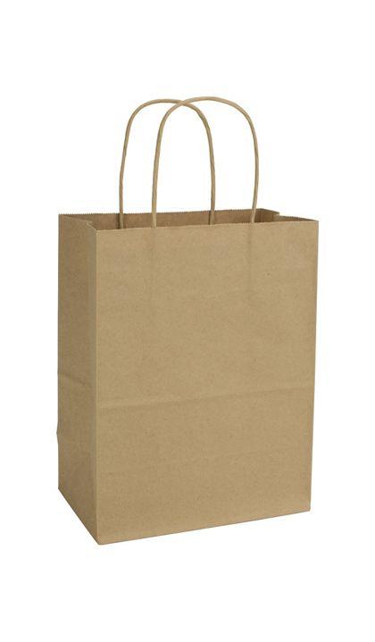"Kraft Paper Shoppers Cub, 8 1/4 x 4 3/4 x 10 1/2"""