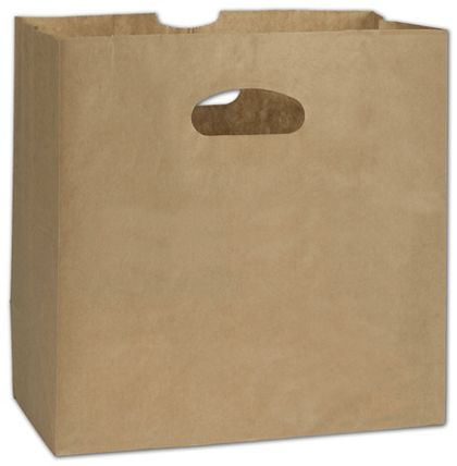 Kraft Paper Bags with Die-Cut Handles, 11 x 6 x 11""