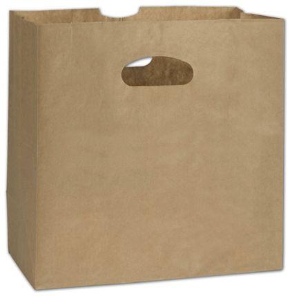 """Kraft Paper Bags with Die-Cut Handles, 11 x 6 x 11"""""""