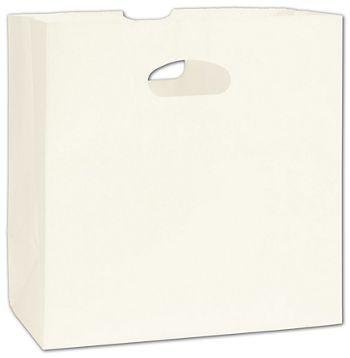 White Kraft Paper Bags with Die-Cut Handles, 11 x 6 x 11