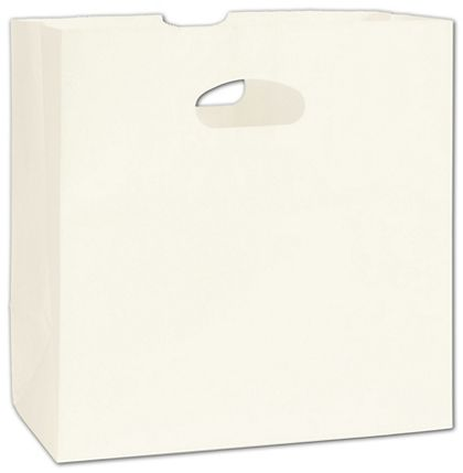 "White Kraft Paper Bags with Die-Cut Handles, 11 x 6 x 11"""