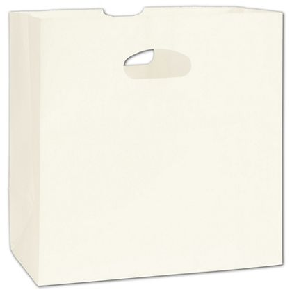 White Kraft Paper Bags with Die-Cut Handles, 11 x 6 x 11