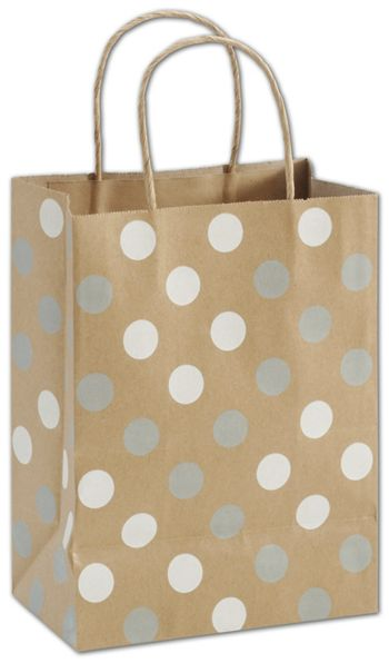 Silver & White Dots on Kraft Shoppers, Cub, Mini Pack