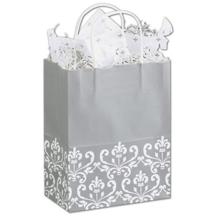 "Silvery Chic Shoppers, 8 1/4 x 4 3/4 x 10 1/2"", Mini Pack"
