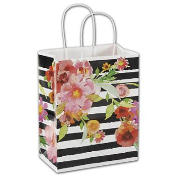"Vibrant Floral Shoppers, 8 1/4x4 3/4x10 1/2"", Mini Pack"