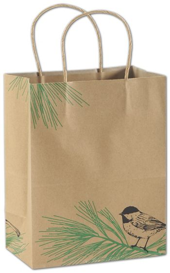 Winter Chickadee Shoppers, 8 1/4x4 3/4x10 1/2