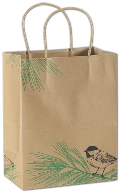 "Winter Chickadee Shoppers, 8 1/4x4 3/4x10 1/2"", Mini Pack"