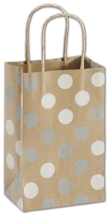 Silver & White Dots on Kraft Shoppers, Mini Cub, Mini Pack