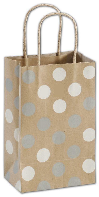 Silver & White Dots on Kraft Shoppers, Mini Cub, Mini Pack