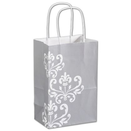 "Silvery Chic Shoppers, 5 1/4 x 3 1/2 x 8 1/4"", Mini Pack"
