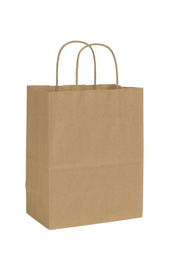 Recycled Kraft Paper Shoppers Cub, 8 1/4 x 4 3/4 x 10 1/2