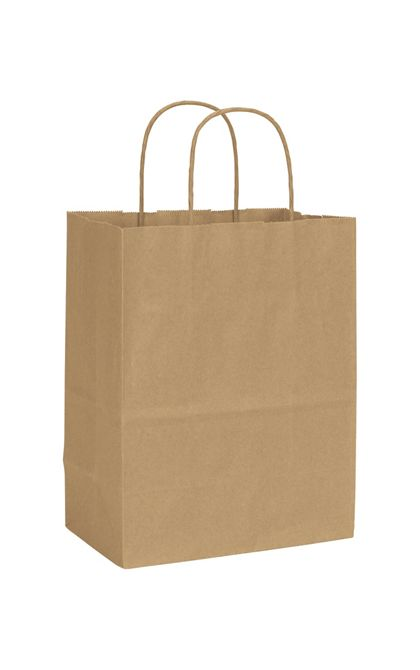 Recycled Kraft Paper Shoppers Cub, 8 1/4 x 4 3/4 x 10 1/2""