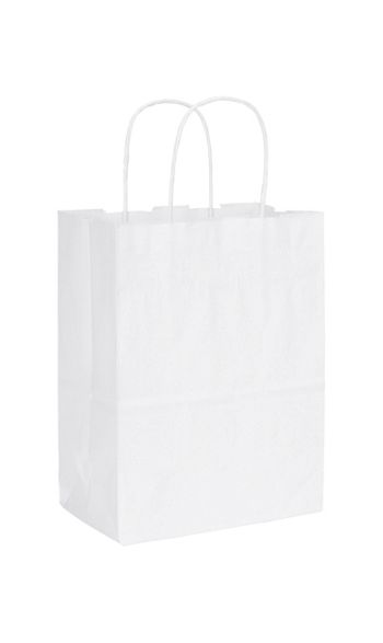 Recycled White Kraft Paper Shoppers Cub
