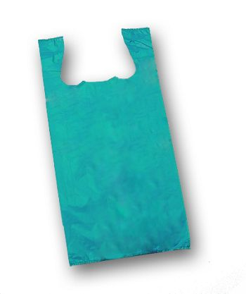 Teal Unprinted T-Shirt Bags, 11 1/2 x 7 x 23