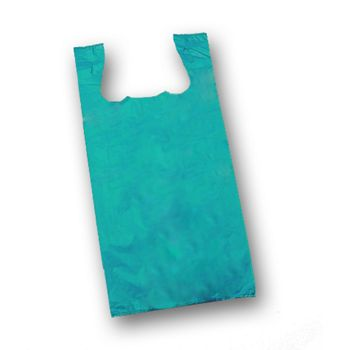 Teal Unprinted T-Shirt Bags, 11 1/2 x 7 x 23""