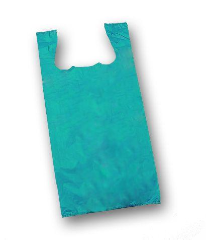 "Teal Unprinted T-Shirt Bags, 11 1/2 x 7 x 23"""
