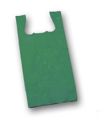 Dark Green Unprinted T-Shirt Bags, 11 1/2 x 7 x 23