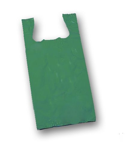 Dark Green Unprinted T-Shirt Bags, 11 1/2 x 7 x 23""