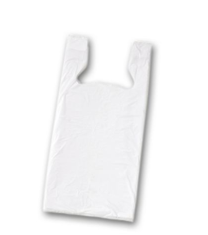 White Unprinted T-Shirt Bags, 18 x 9 x 32""