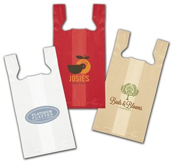 High-Density T-Shirt Bags, Custom Printed, 12 x 7 x 22