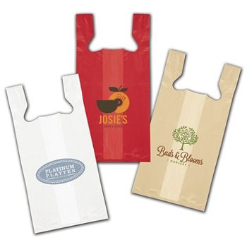 High-Density T-Shirt Bags, Custom Printed, 12 x 7 x 22""