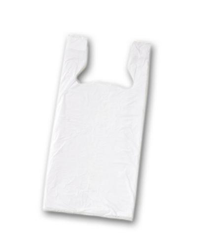 """White Unprinted T-Shirt Bags, 11 1/2 x 8 x 18"""""""