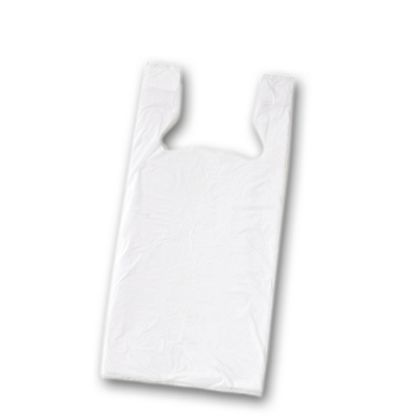 White Unprinted T-Shirt Bags, 11 1/2 x 8 x 18