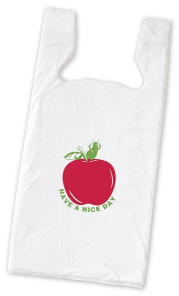 Apple Pre-Printed T-Shirt Bags, 11 1/2 x 7 x 23