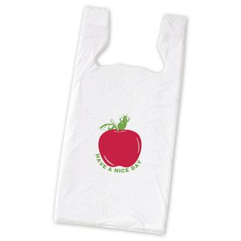 Apple Pre-Printed T-Shirt Bags, 11 1/2 x 7 x 23""