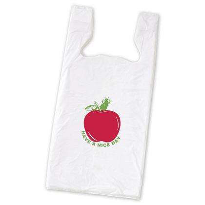 "Apple Pre-Printed T-Shirt Bags, 11 1/2 x 7 x 23"""