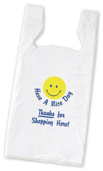 Smiley Pre-Printed T-Shirt Bags, 11 1/2 x 7 x 23