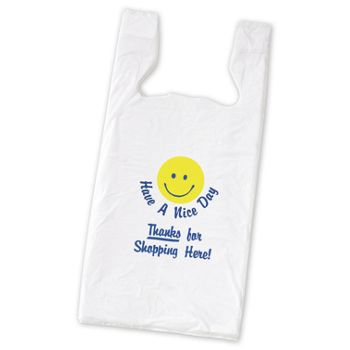 Smiley Pre-Printed T-Shirt Bags, 11 1/2 x 7 x 23""