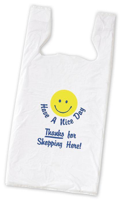 """Smiley Pre-Printed T-Shirt Bags, 11 1/2 x 7 x 23"""""""