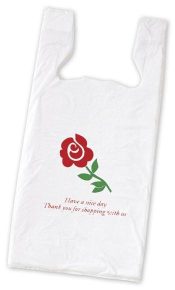 Rose Pre-Printed T-Shirt Bags, 11 1/2 x 7 x 23