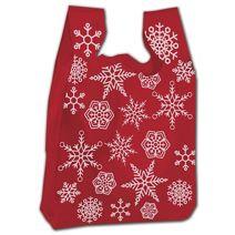 "Festive Snowflake High-Density T-Shirt Bags, 12 x 7 x 22"""
