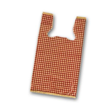 Red Gingham High Density T-Shirt Bags, 12 x 7 x 22