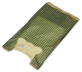Green Gingham High Density T-Shirt Bags, 12 x 7 x 22
