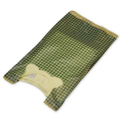 "Green Gingham High Density T-Shirt Bags, 12 x 7 x 22"""