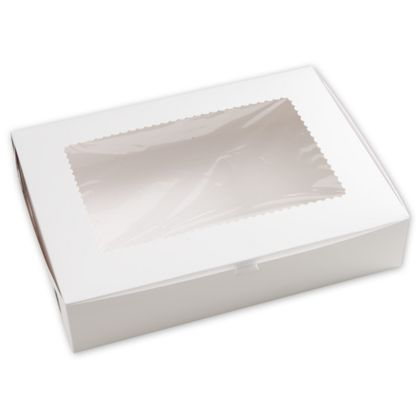 White Windowed Bakery Boxes, 1 Piece, 19 x 14 x 4""