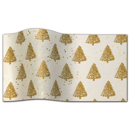 "Gold Trees On Ivory Gemstone Tissue Paper, 20 x 30"""