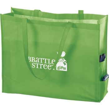 Lime Non-Woven Tote Bags, 20 x 6 x 16