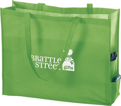 """Lime Non-Woven Tote Bags, 20 x 6 x 16"""""""