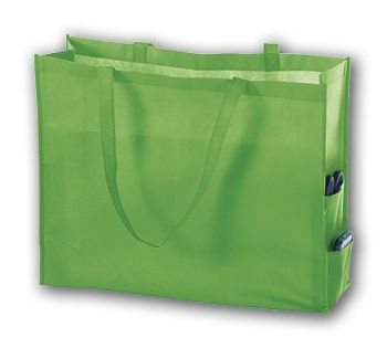 Lime Unprinted Non-Woven Tote Bags, 20 x 6 x 16