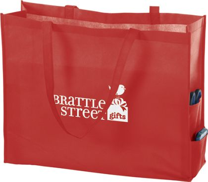 """Red Non-Woven Tote Bags, 20 x 6 x 16"""""""