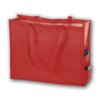 Red Unprinted Non-Woven Tote Bags, 20 x 6 x 16