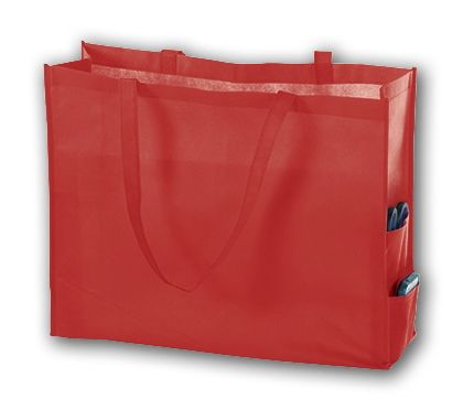 Red Unprinted Non-Woven Tote Bags, 20 x 6 x 16""