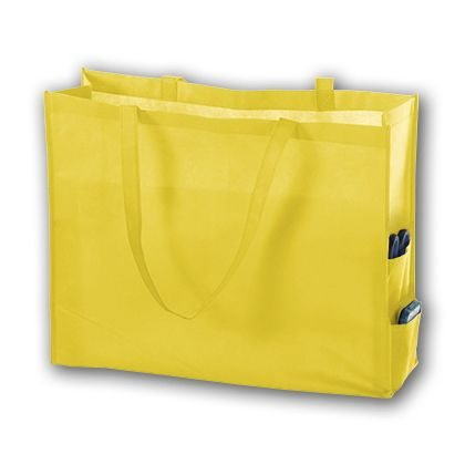 Yellow Unprinted Non-Woven Tote Bags, 20 x 6 x 16