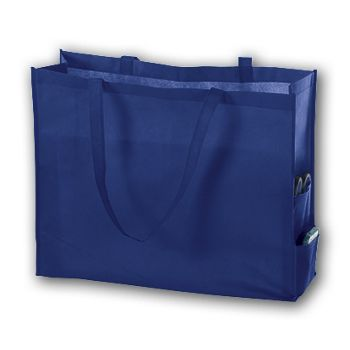 Royal Blue Unprinted Non-Woven Tote Bags, 20 x 6 x 16