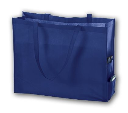 Royal Blue Unprinted Non-Woven Tote Bags, 20 x 6 x 16""